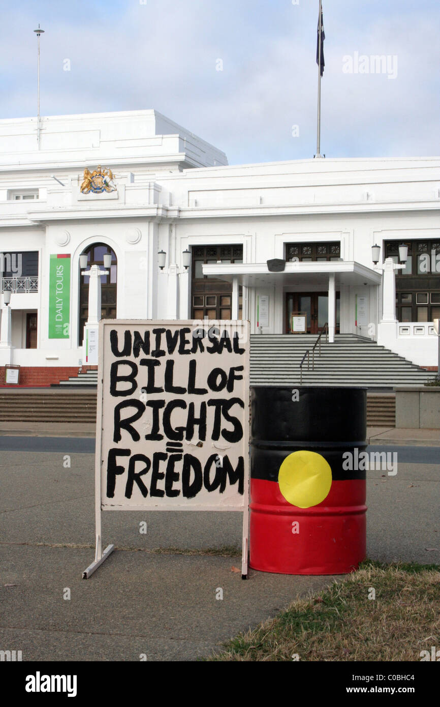 Aboriginal protest signage outside the entrance to the Old
