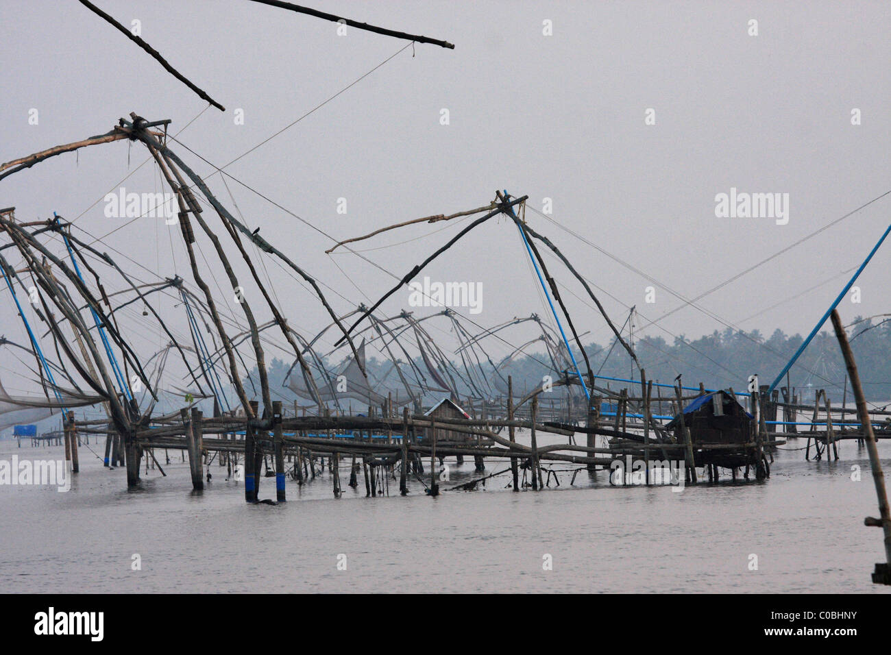 chinese fish nets in kerala,india - Stock Image