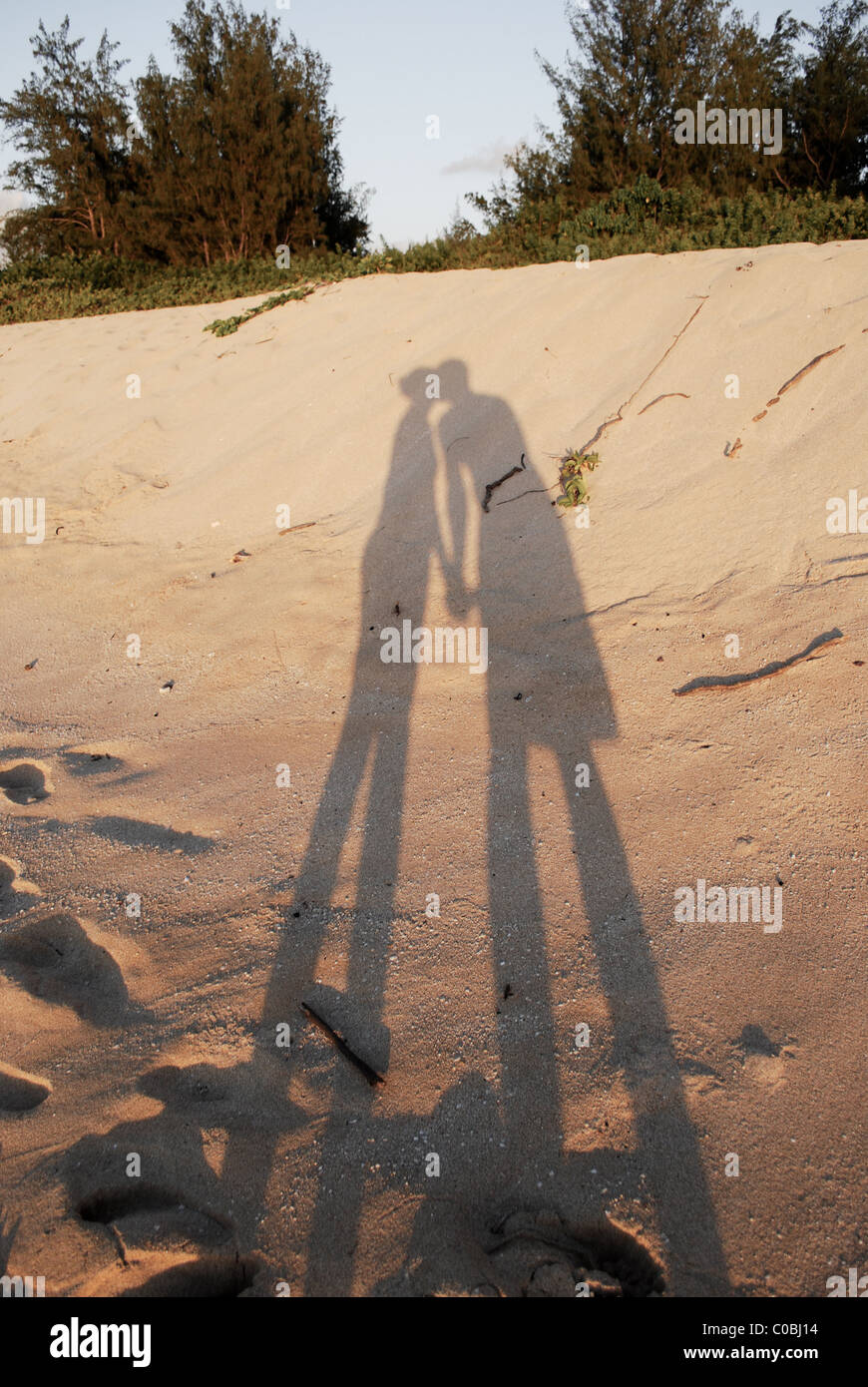 Shadow of couple kissing on beach. Holding hands and kissing just before sunset. Stock Photo