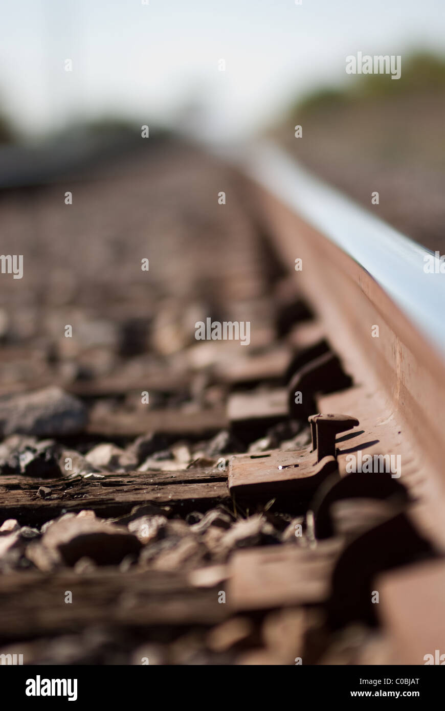 Train tracks, railroad. Stock Photo