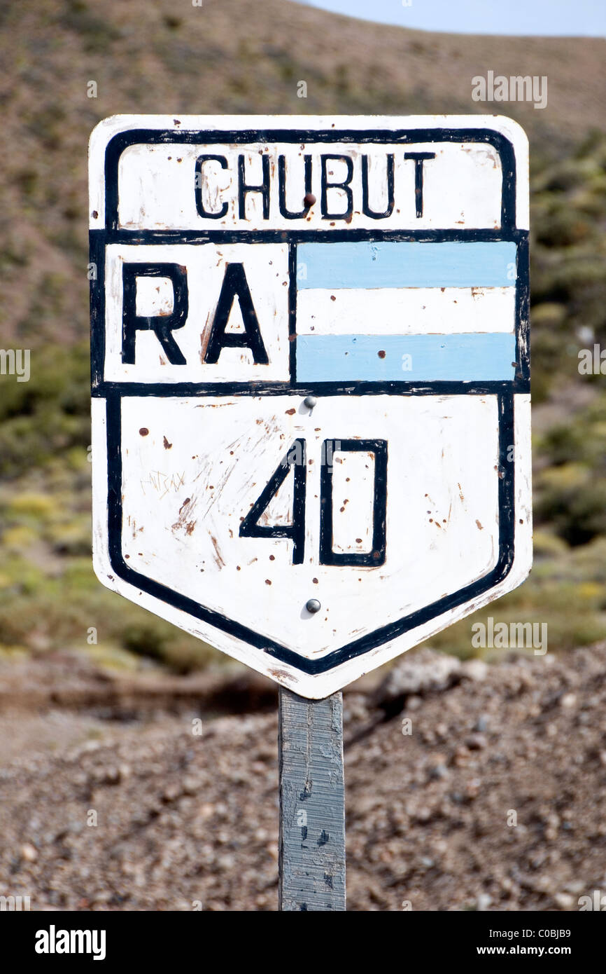 Route 40 sign in Chubut Provence, Patagonia, Argentina - Stock Image