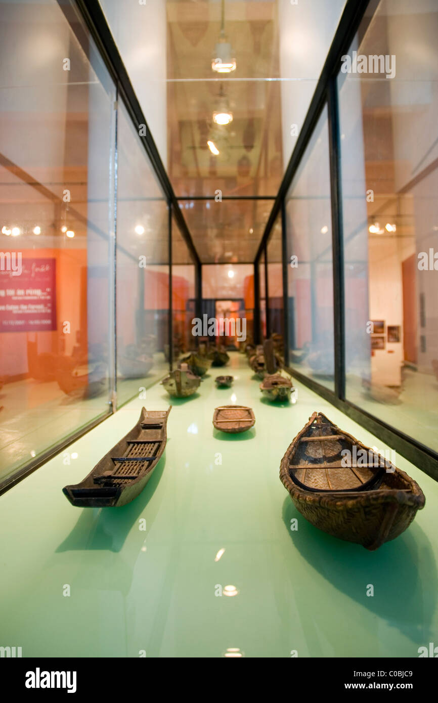 Model sampans in the Vietnam Museum of Ethnology, Hanoi - Stock Image