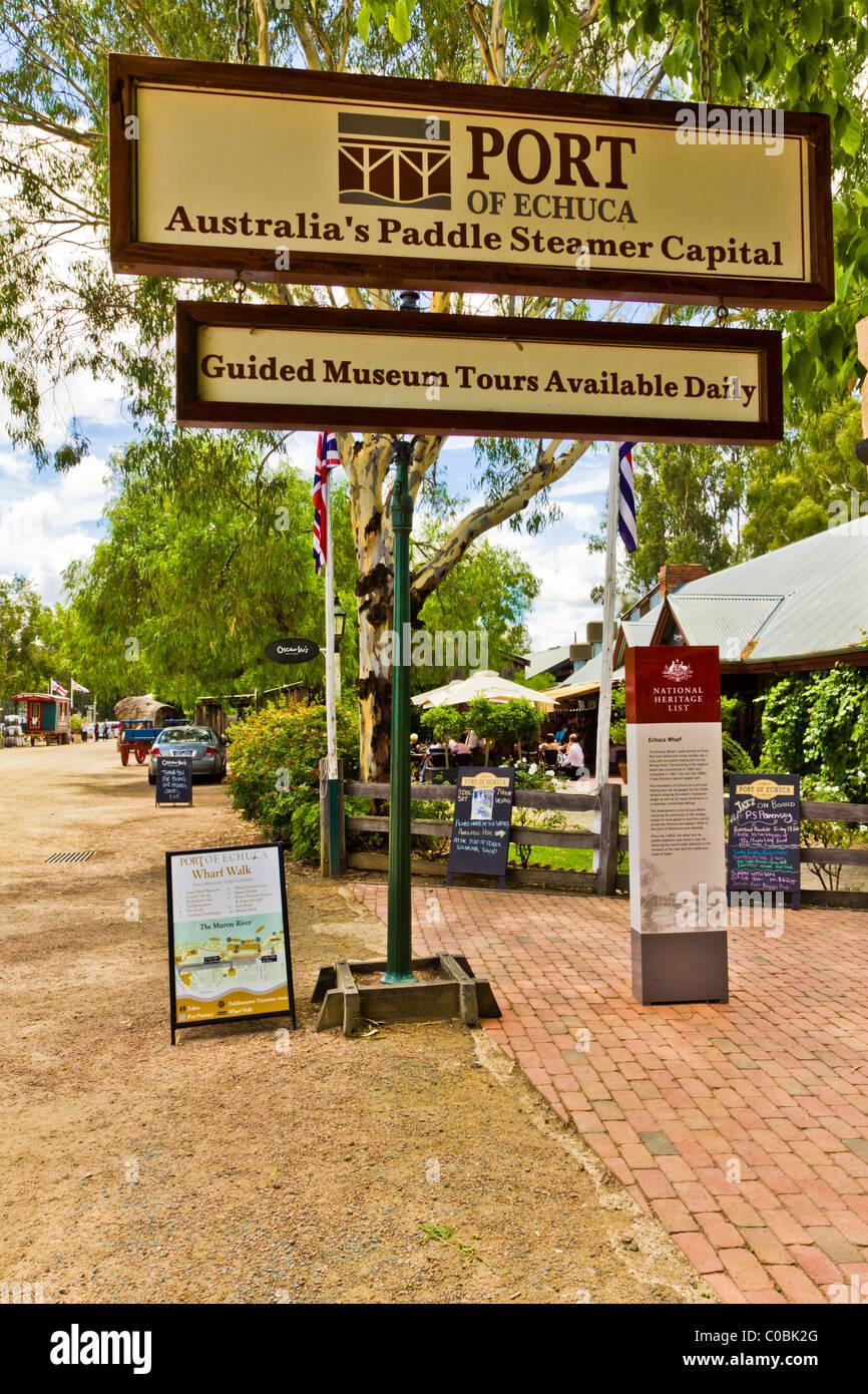 Port of Echuca Tourist Sign Stock Photo