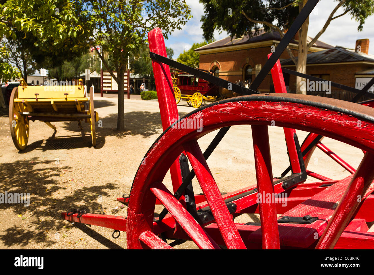 Old wooden log carts in Port of Echuca Stock Photo