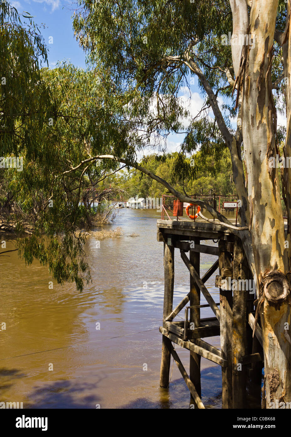 Part of the old wharf in Port of Echuca. Stock Photo