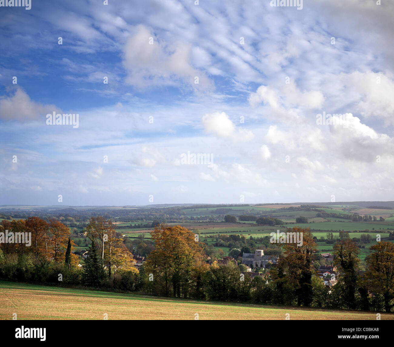 An autumn view of the Wylye Valley in Wiltshire, England, including the village of Heytesbury. Stock Photo
