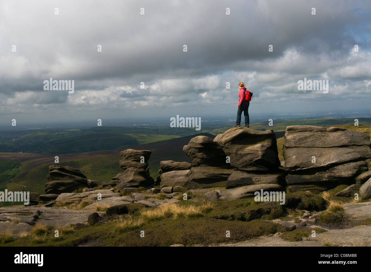 Rock formation on the Pennine Way Kinder Scout Derbyshire England - Stock Image