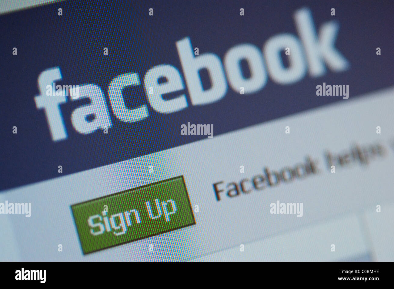 Facebook social networking website. Sign Up screen. - Stock Image