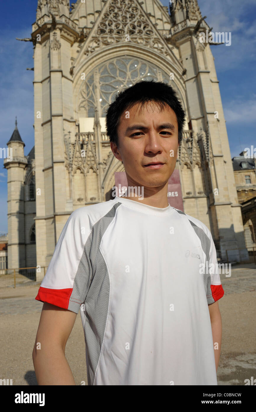 Paris France Portrait Young Chinese Man Visiting Cha Teau De Vincennes