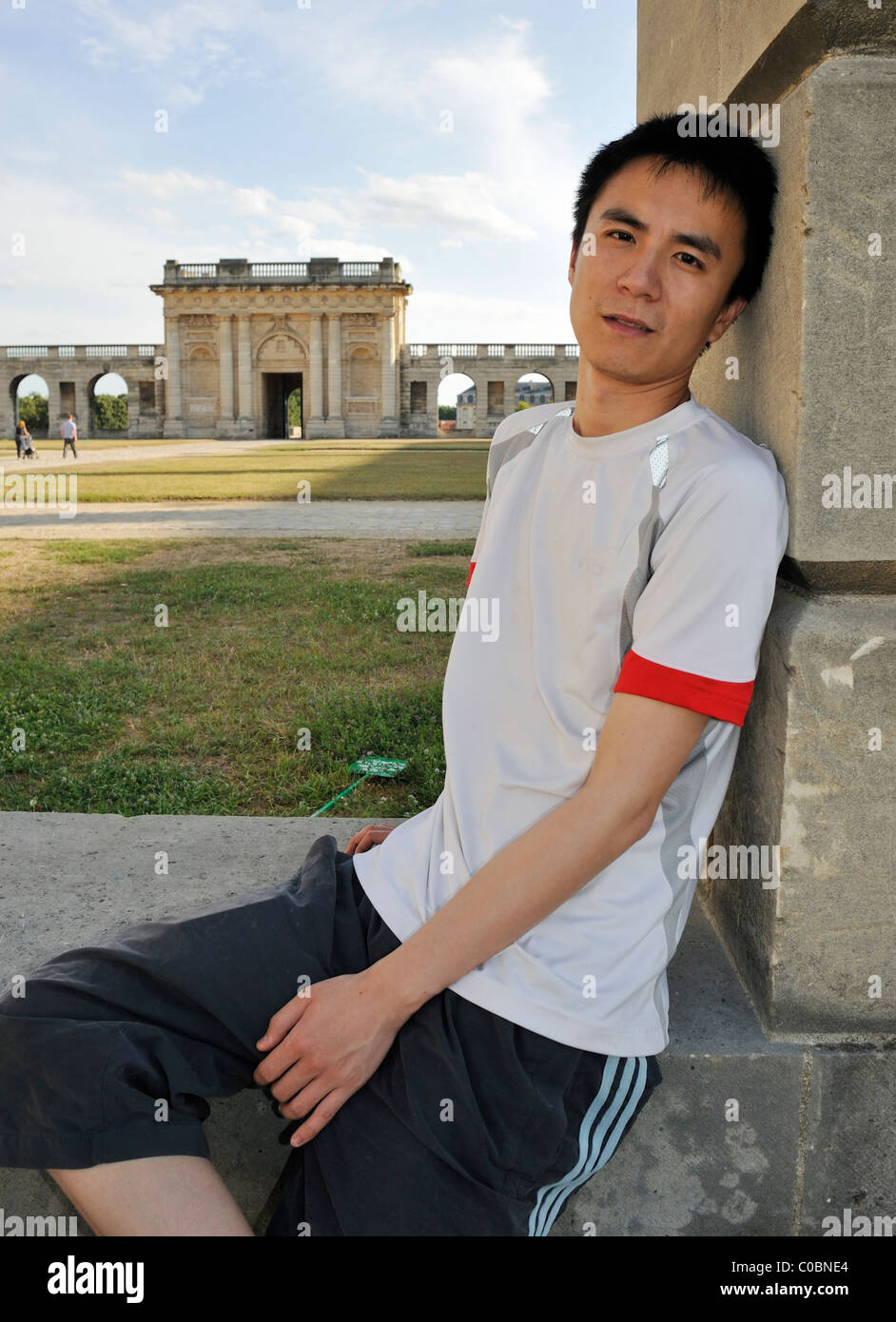 Paris France Portrait Young Chinese Man Sitting Outside Cha Teau De