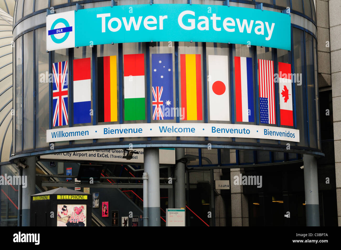 Entrance to Tower Gateway Docklands Light Railway DLR Station, Tower Hill, London, England, UK - Stock Image