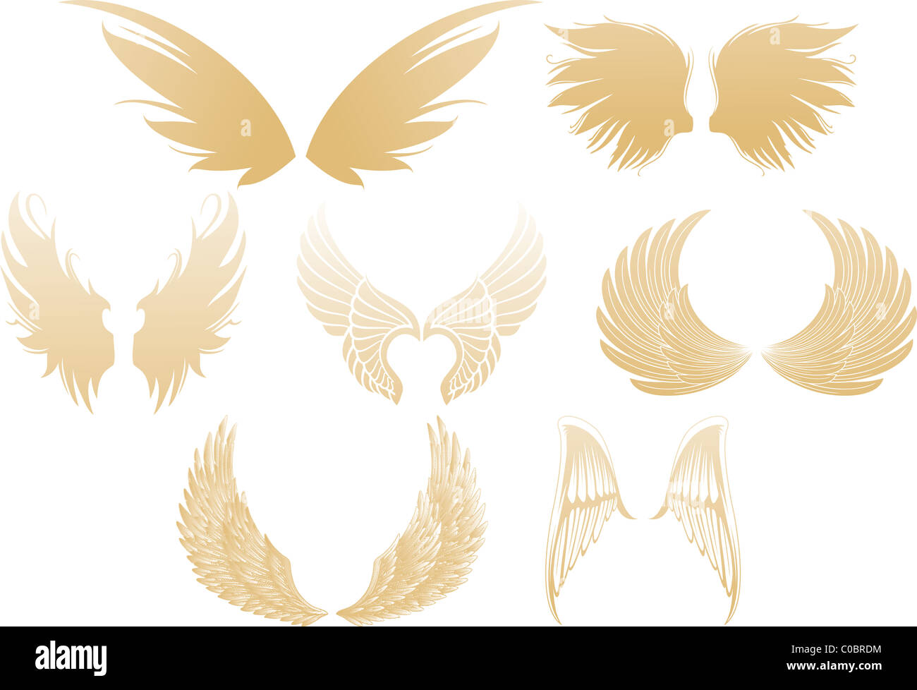Set of various golden shimmering angel wings isolated on white background - Stock Image