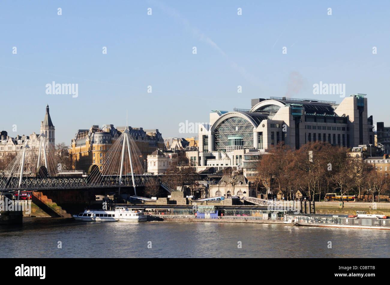 Charing Cross Station and Embankment Pier, London, England, Uk - Stock Image
