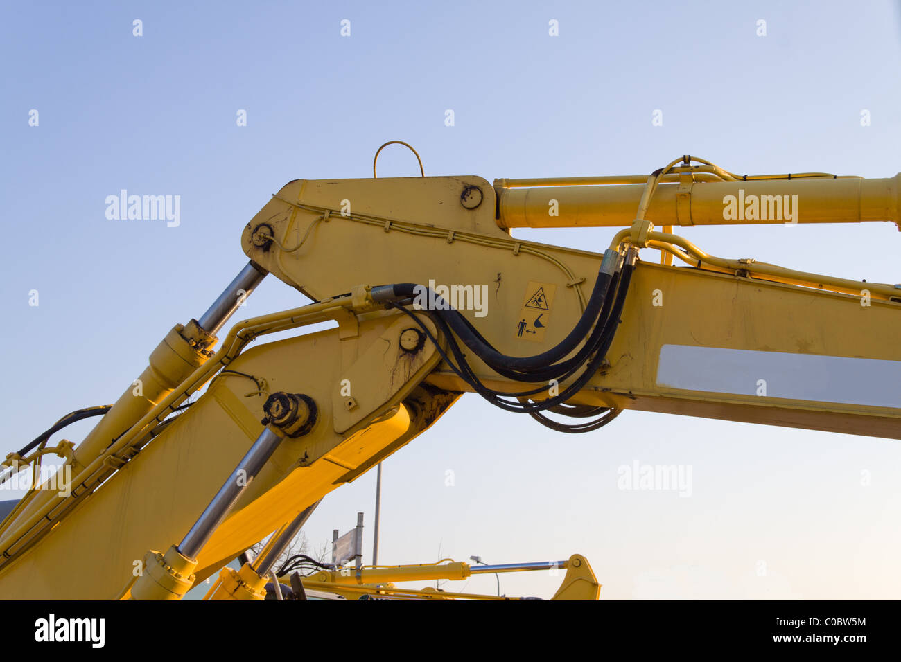 detail of yellow arm of the earthmover - Stock Image