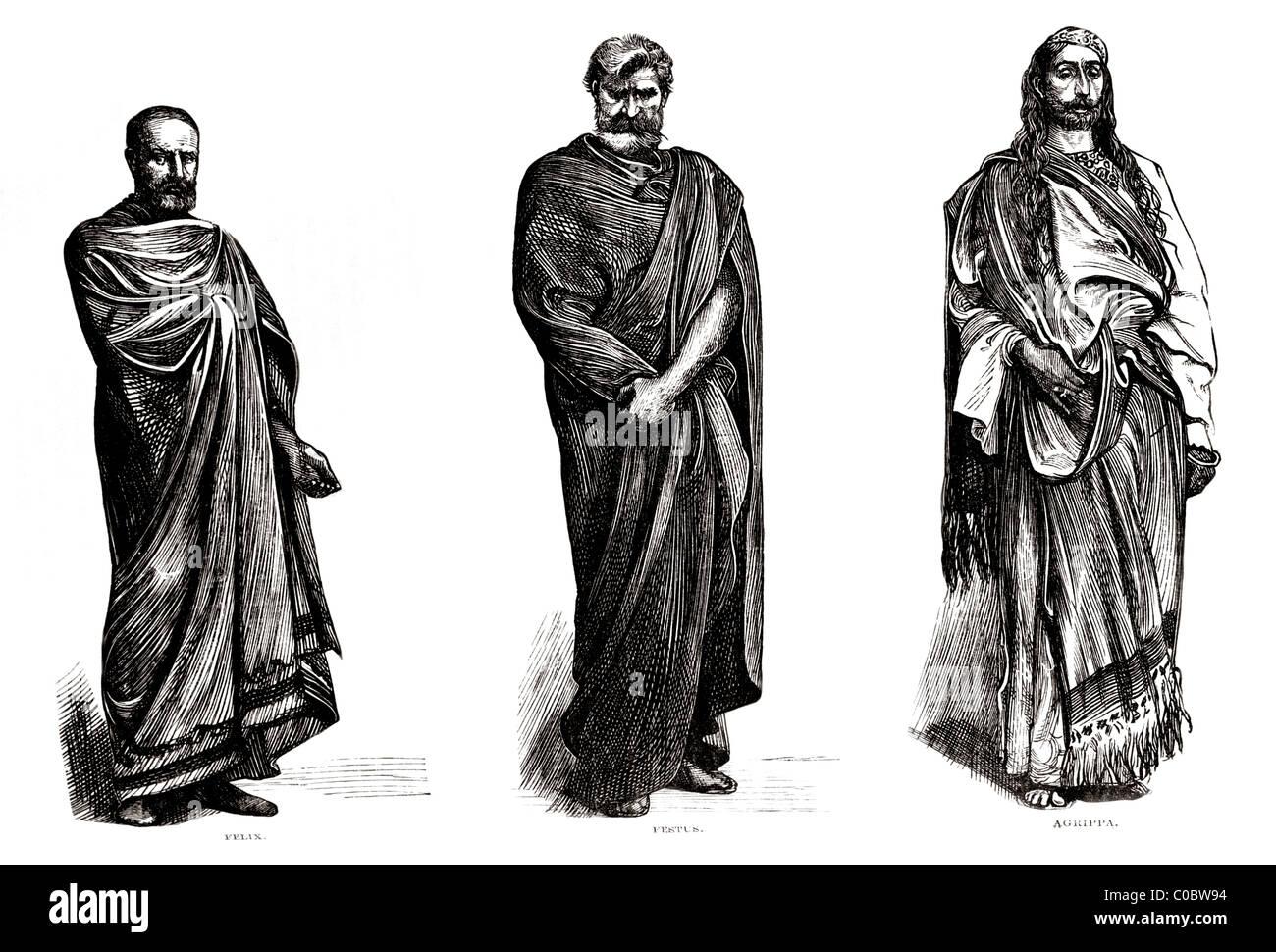 Paul's Judges Felix Festus & Agrippa (left To Right) Bible Story - Stock Image