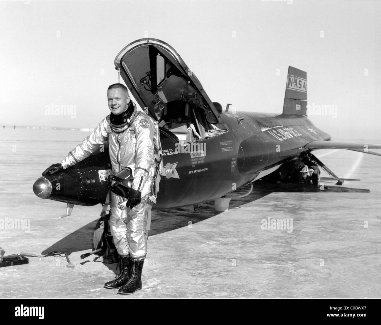 Neil Armstrong next to the X-15 rocket-powered research aircraft. - Stock Image