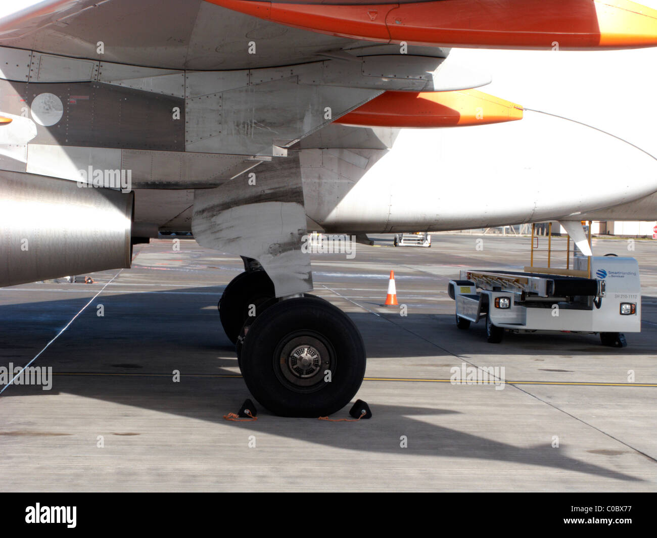 main wheels and chocks parked easyjet a319 airbus aircraft - Stock Image