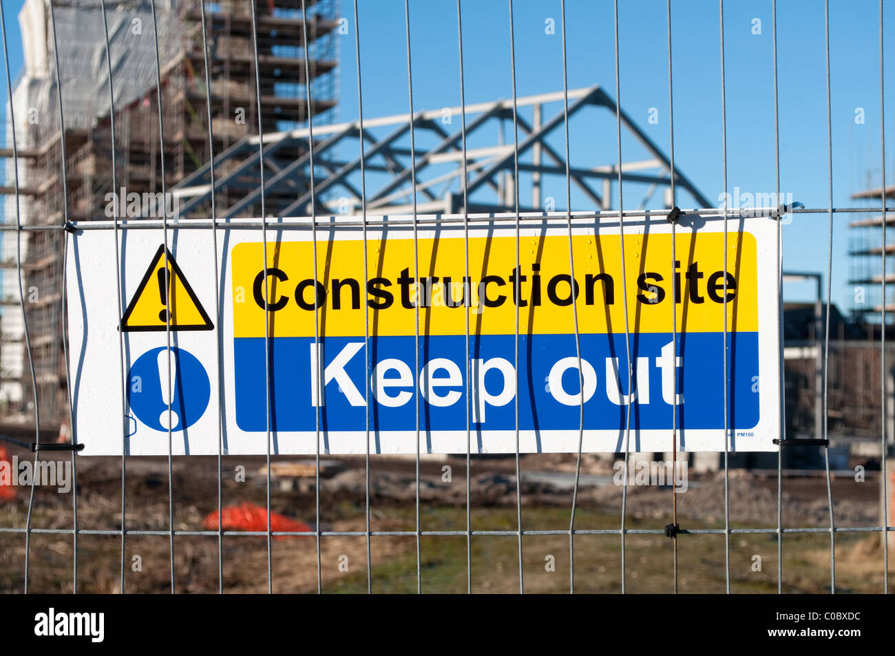 a keep out notice at a construction site in cornwall, uk - Stock Image