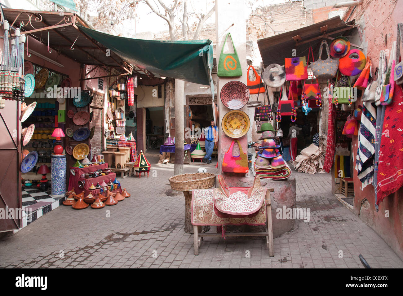 A collection of market stalls in the Medina souk in Marrakech, Morocco Ian McEwen - Stock Image