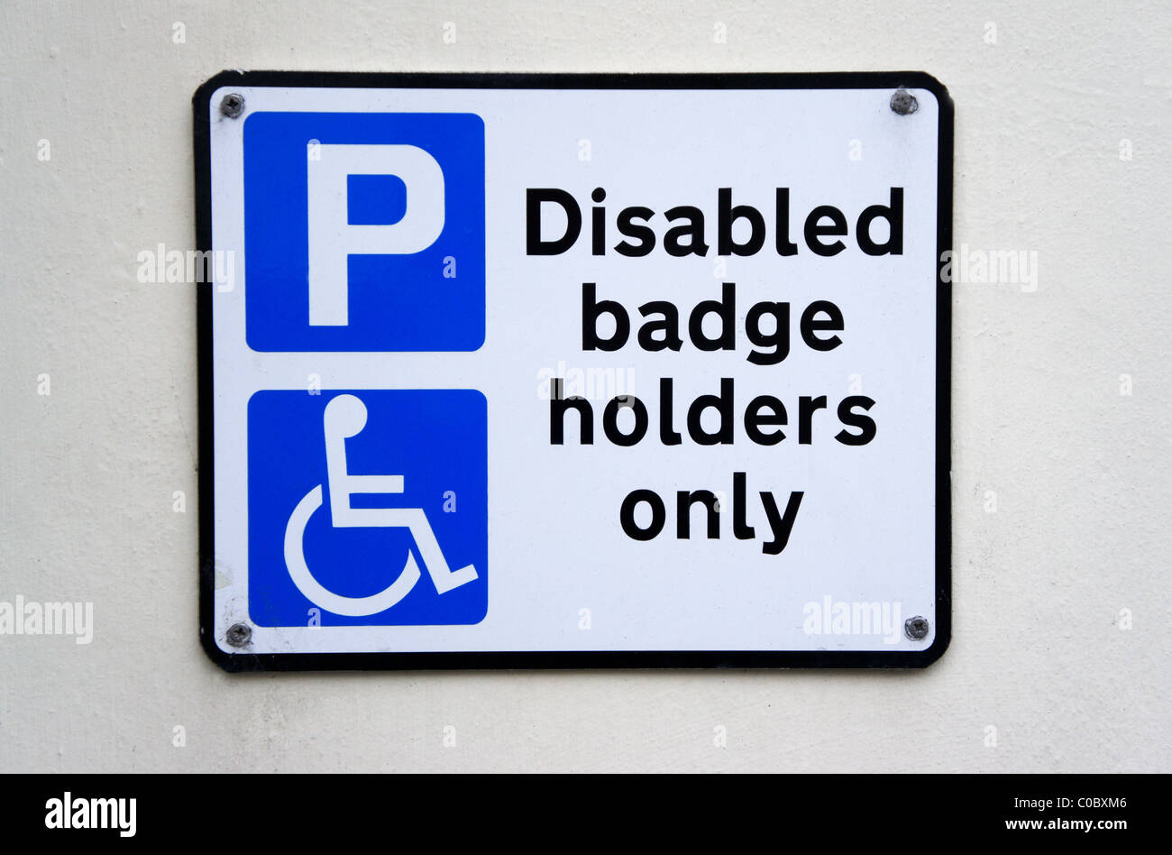 A disabled badge holders only, parking sign, uk - Stock Image