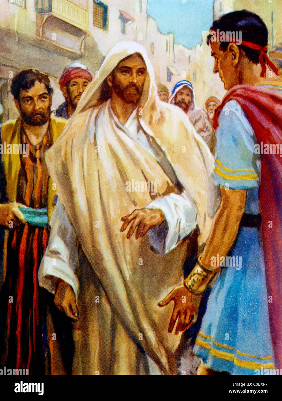 Jesus Is Astonished At The Centurion's Faith Painting By Henry Coller Bible Story - Stock Image