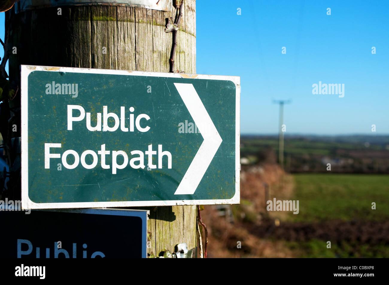 a public footpath sign, cumbria, uk - Stock Image