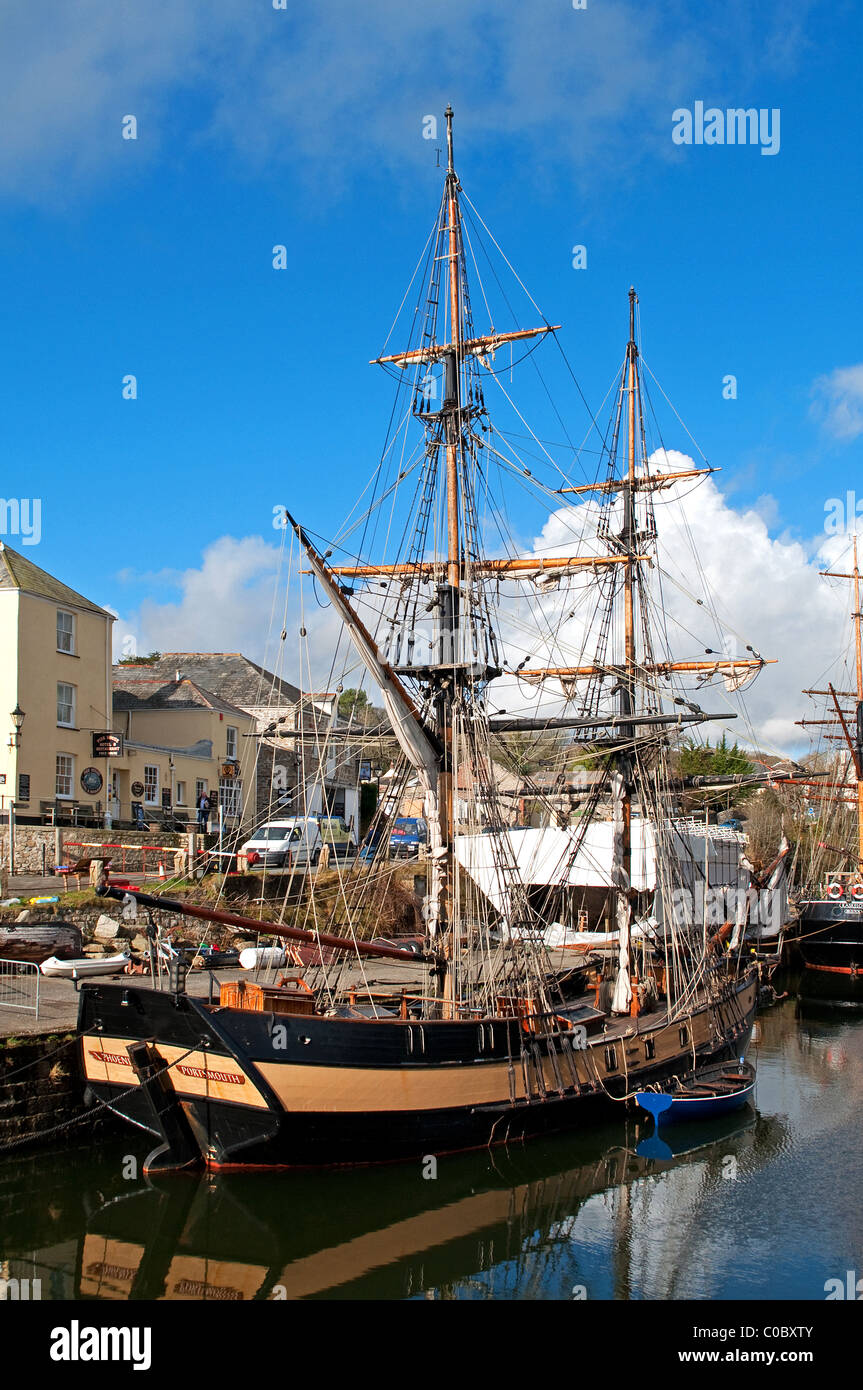 Old style sailing ships in the port of charlestown, cornwall, uk - Stock Image