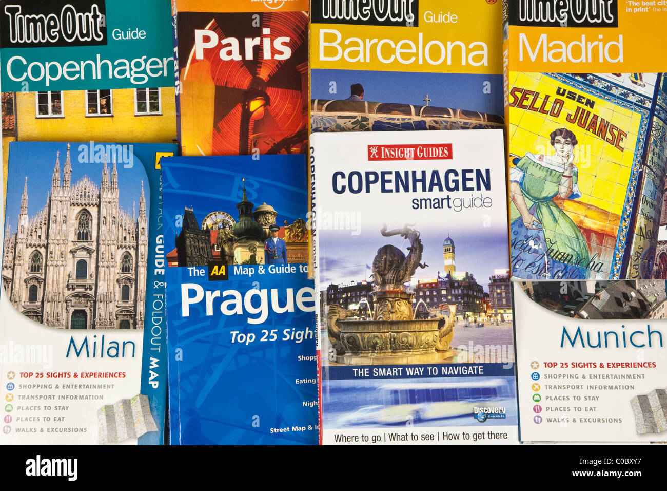 Travel guide books for Europe - Stock Image
