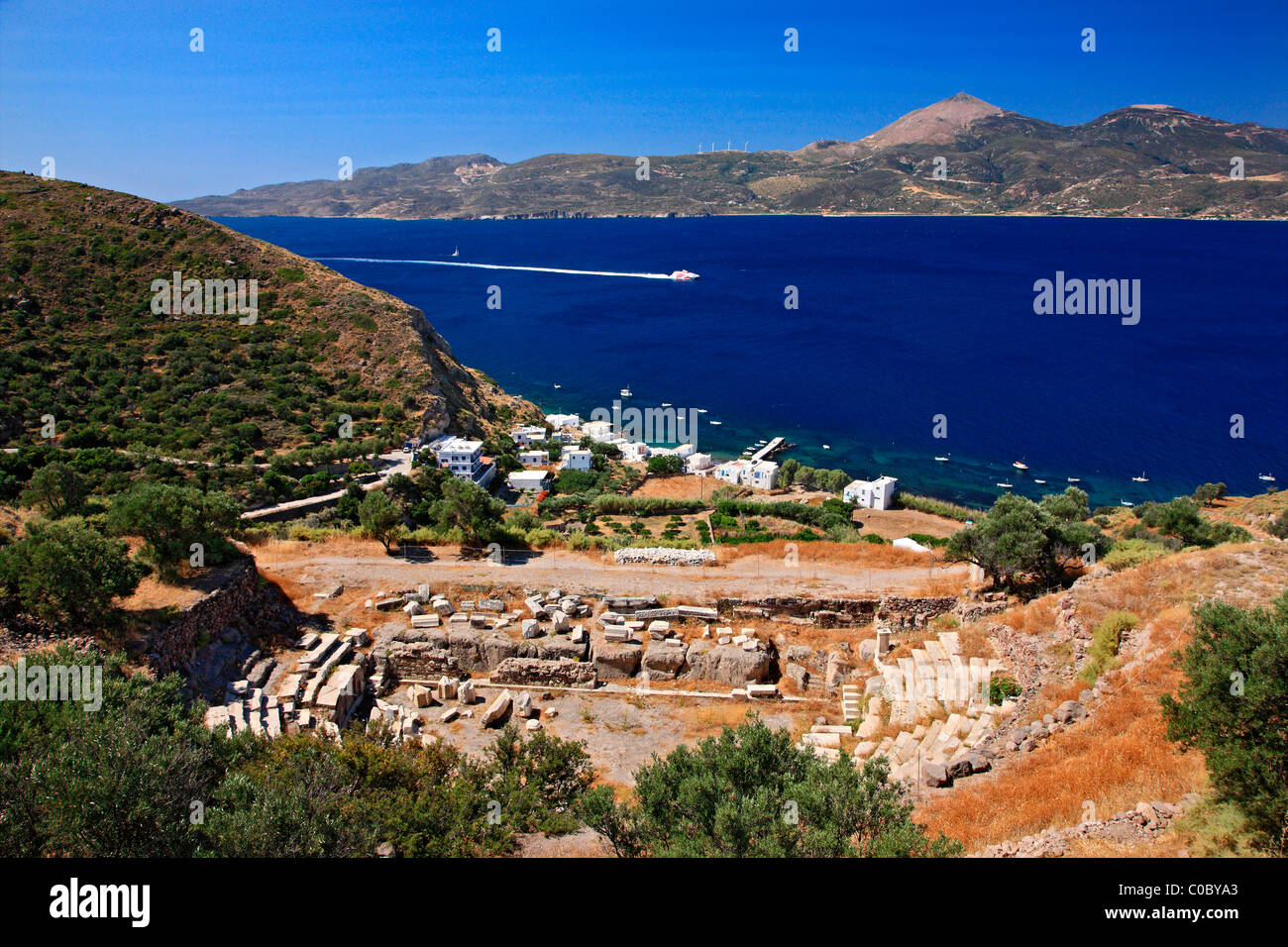 The ancient theater of Milos island, right above Klima village, Cyclades, Greece - Stock Image