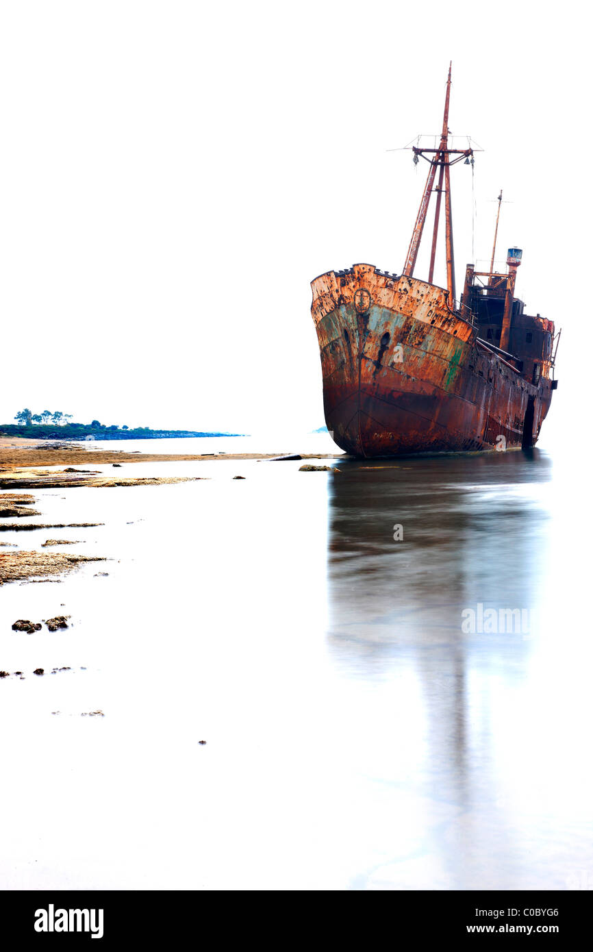 The 'Dimitrios' shipwreck in Glyfada (also known as 'Valtaki') beach, close to Gytheio town, Mani, - Stock Image