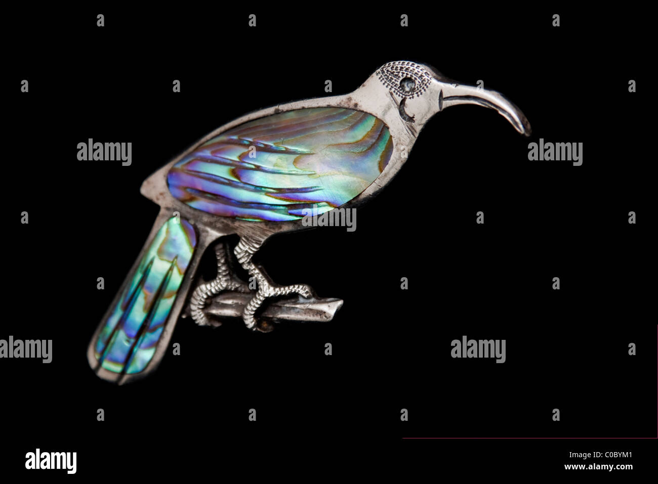 Rare Edwardian Sterling Silver brooch of the Huia bird  (now extinct) from New Zealand - Stock Image