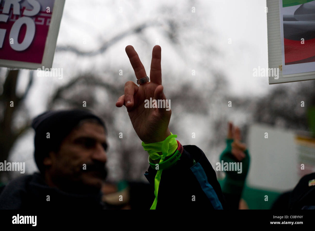 Protest outside the Iranian embassy in London - Stock Image