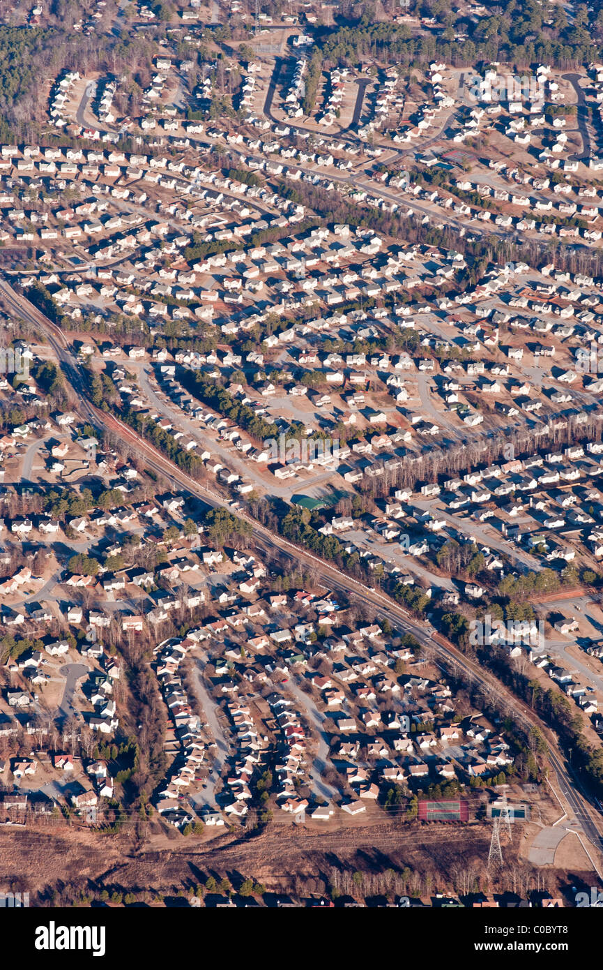 An aerial photography showing urban sprawl and over-population in Atlanta, Georgia, USA. - Stock Image