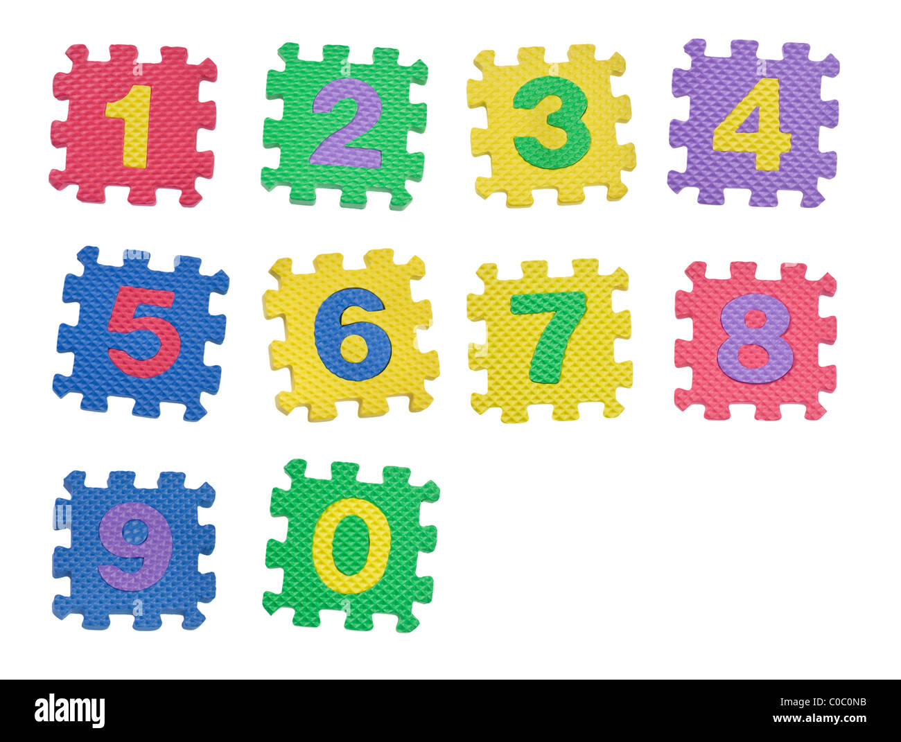 Number blocks from 0 to 9 isolated on white background - Stock Image