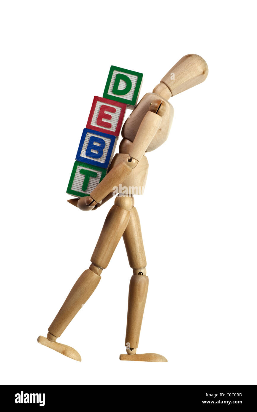 Wooden mannequin carrying blocks with the word DEBT on its back isolated on white background - Stock Image
