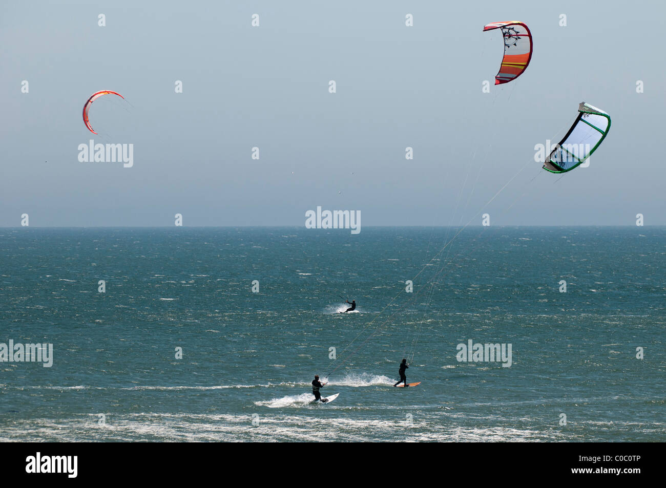 Kitesurfing at Punto San Carlos, Baja California, Mexico - Stock Image