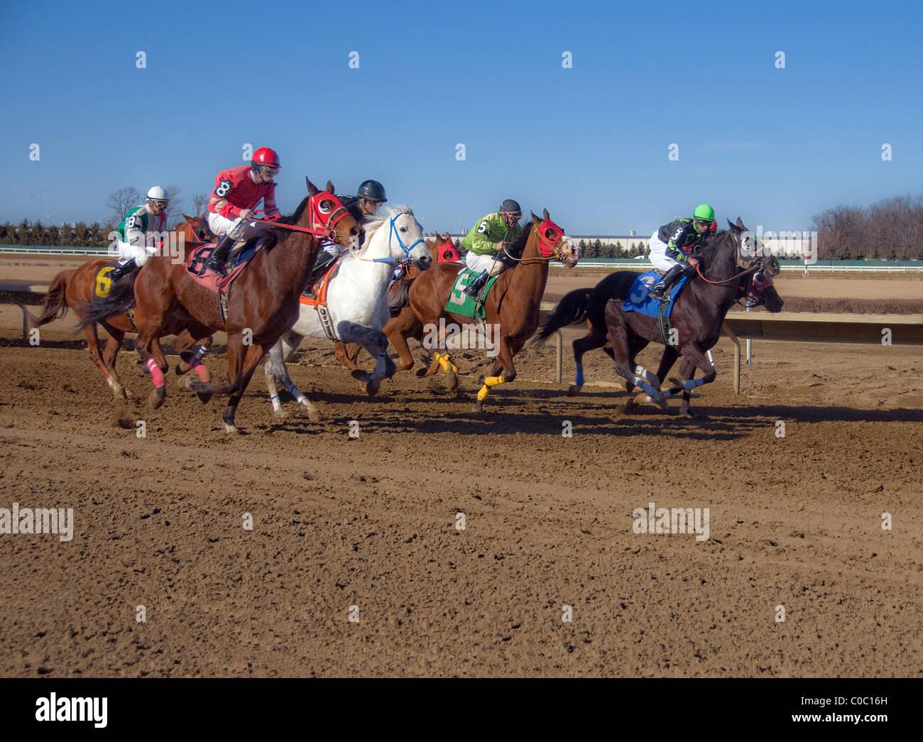 Horse racing Ohio USA - Stock Image