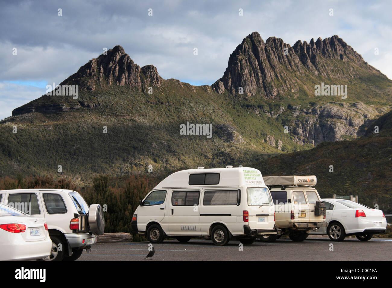 Cradle Mountain National Park Car Park. - Stock Image