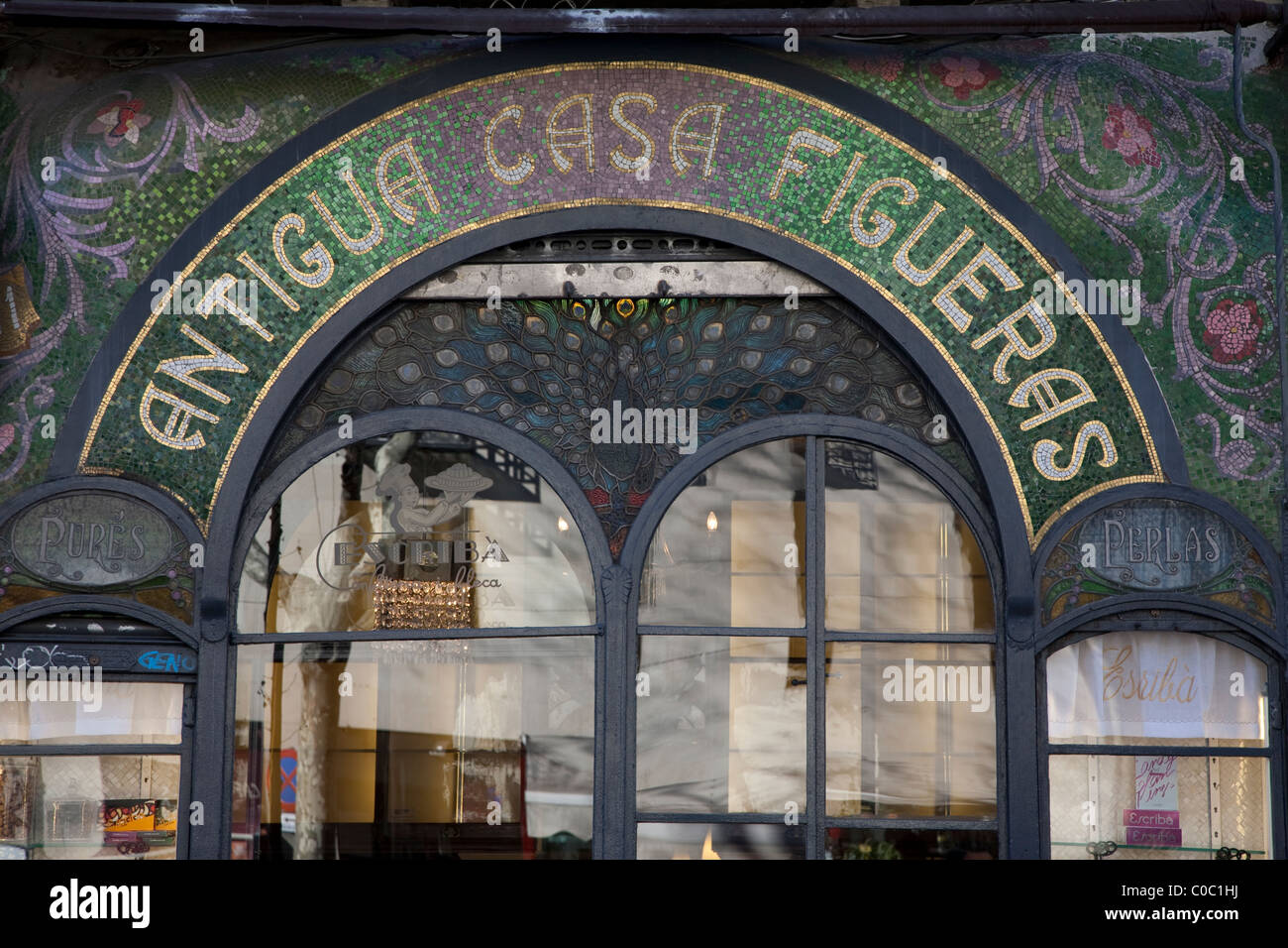 Facade of Escriba Bakery and Cafe on La Rambla Street in Barcelona, Catalonia, Spain - Stock Image