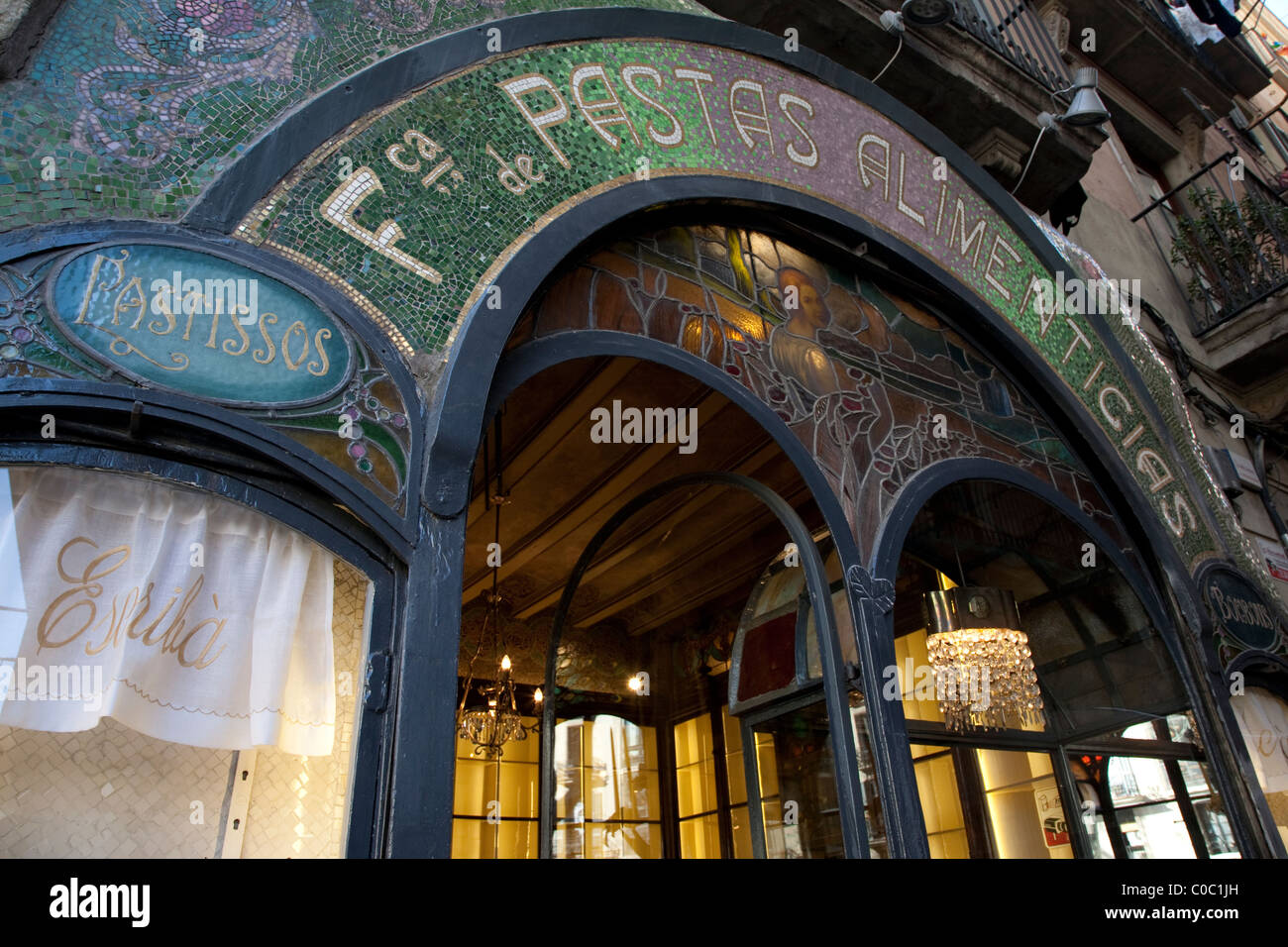 Facade of Escriba Bakery and Cafe on the Rambla in Barcelona, Catalonia, Spain - Stock Image