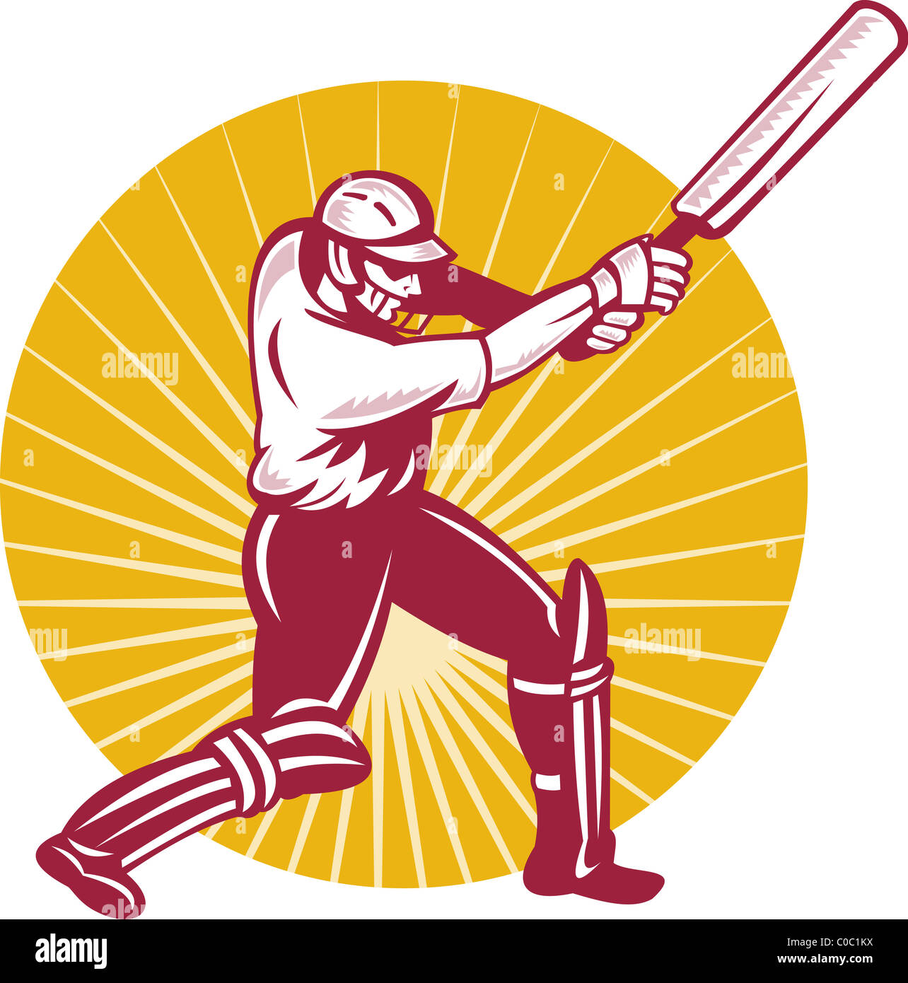 illustration of a cricket batsman batting front view done in woodcut retro style - Stock Image