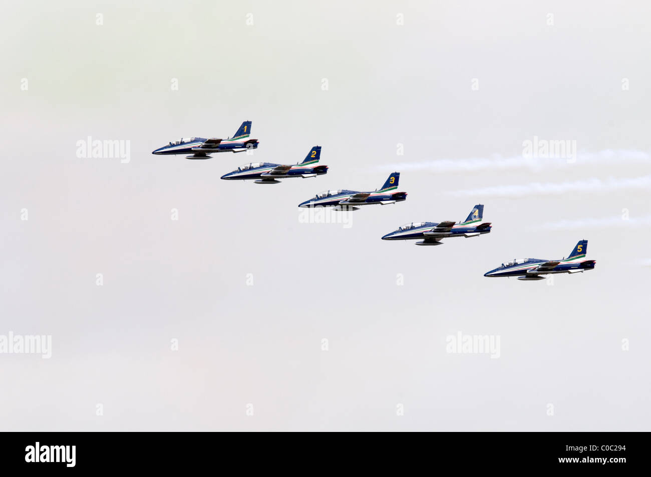 Flying Display by Il Frecce Tricolori. Aemacchi MB339A of Italian Air Force Aerobatic Team from Rivolto Stock Photo