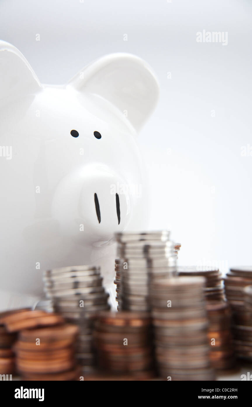 White piggy bank overlooks stacks of coins - Stock Image