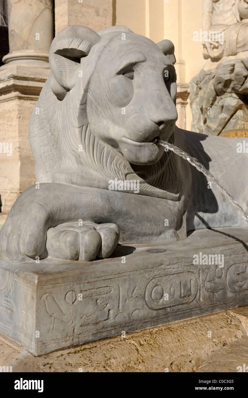 italy, rome, fontana dell'acqua felice, moses fountain - Stock Image