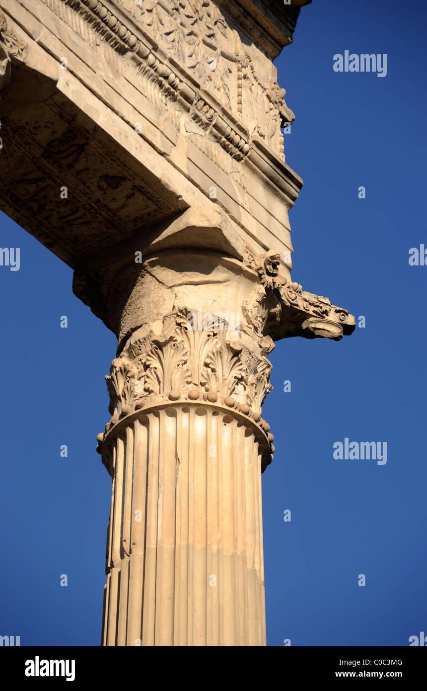 italy, rome, temple of apollo sosianus, corinthian column detail - Stock Image
