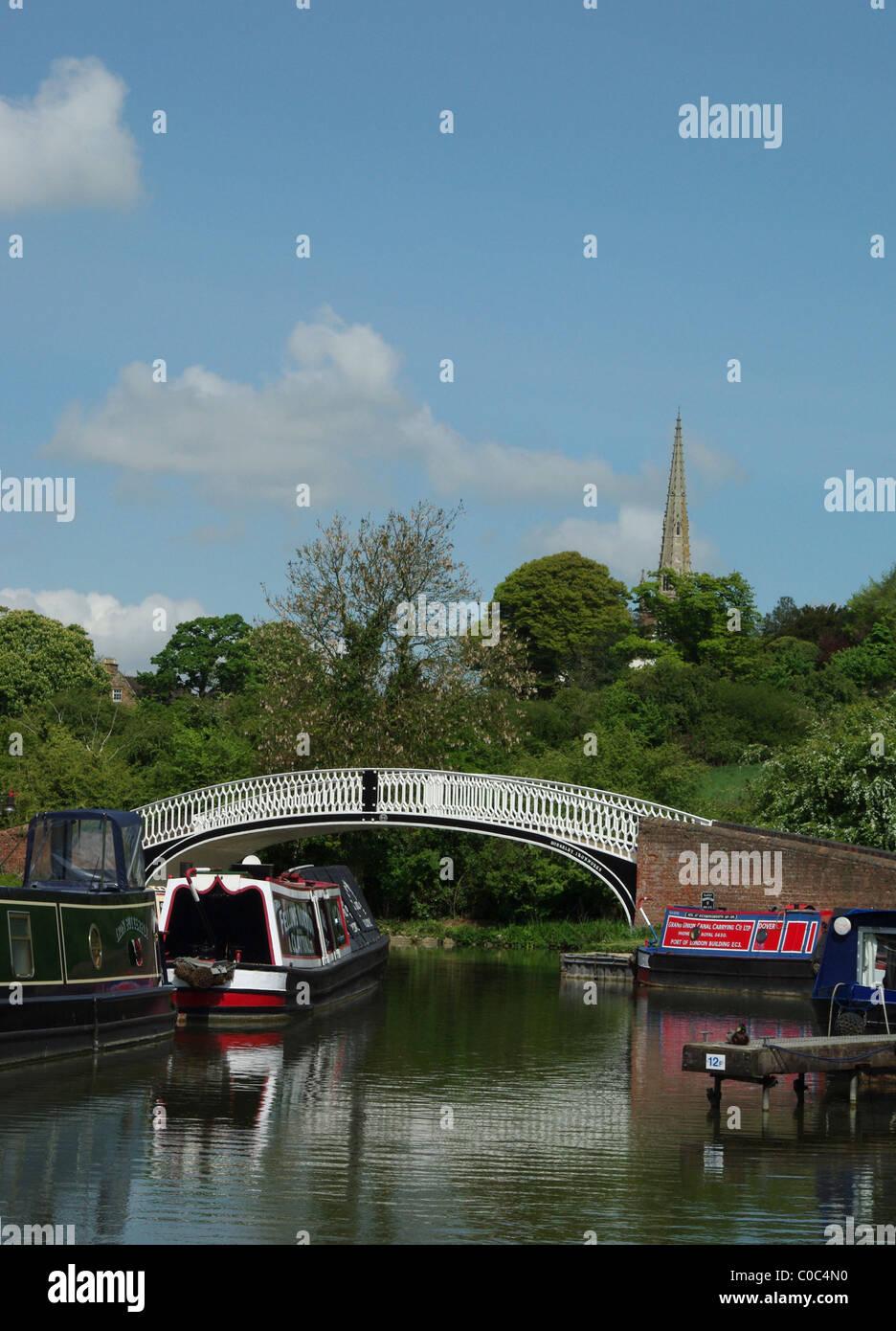 Colourful narrowboats at Braunston Marina, Northamptonshire, England, UK - Stock Image