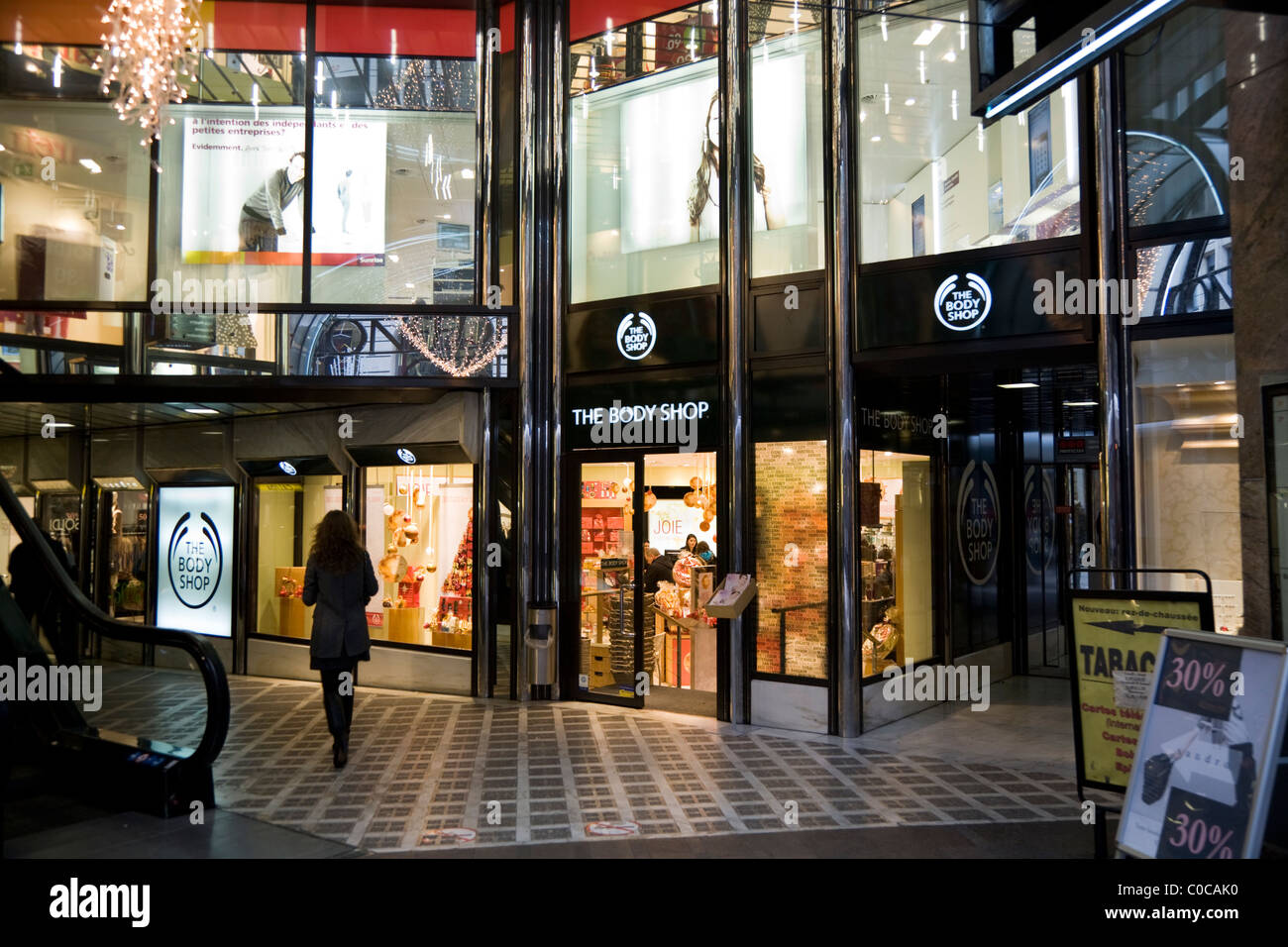 Branch of The Body Shop / Bodyshop in Confederation Centre, Geneva. Swiss shopping mall / arcade / shops in / Geneve Stock Photo