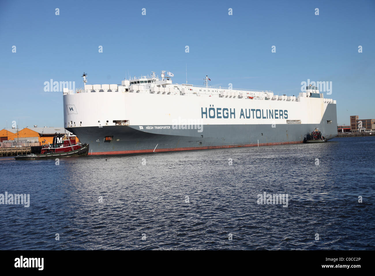 Hoegh Autoliners Car carrier ship leaving Port of Newark