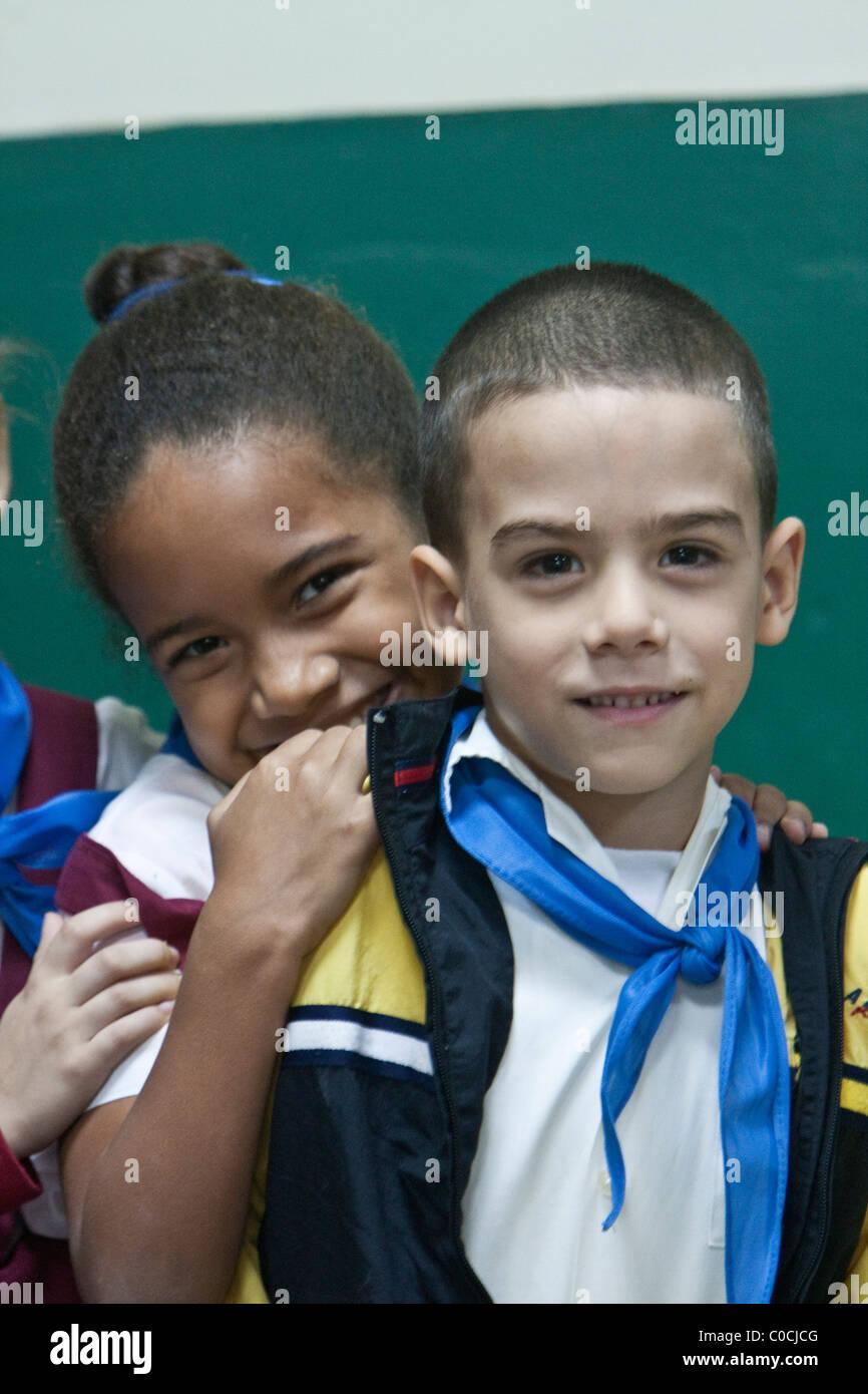 Cuba, Havana. Primary School Children in Classroom. - Stock Image