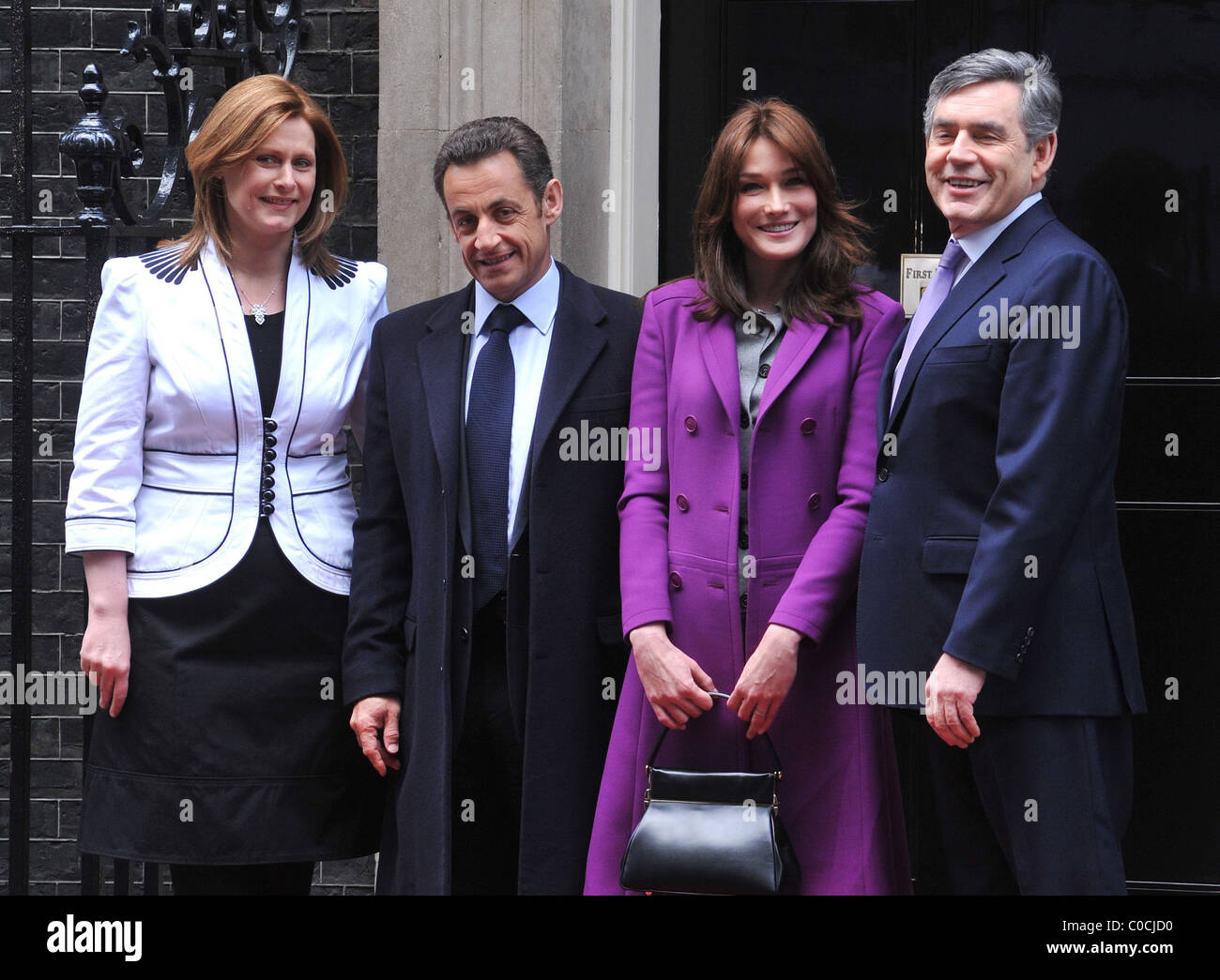 French President Nicolas Sarkozy And Wife Carla Bruni Visit With Stock Photo Alamy